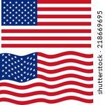 Flat And Waving American Flag....