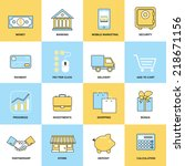 business icons flat line set of ... | Shutterstock .eps vector #218671156