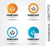 Energy hands sign icon. Power from hands symbol. Business abstract circle logos. Icon in speech bubble, wreath. Vector