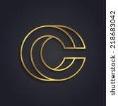 vector graphic gold alphabet  ... | Shutterstock .eps vector #218683042