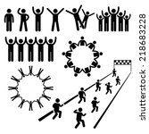 people community welfare stick... | Shutterstock .eps vector #218683228