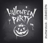 halloween text design with...   Shutterstock .eps vector #218683396