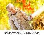 portrait of cute little girl on ... | Shutterstock . vector #218683735