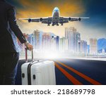 business man and luggage... | Shutterstock . vector #218689798