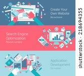 web site creation seo app...   Shutterstock .eps vector #218694355