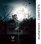 scary house and graveyard in... | Shutterstock .eps vector #218695576