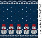 winter holiday seamless knitted ... | Shutterstock .eps vector #218699542