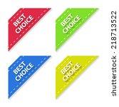 set of flat signs best choice.... | Shutterstock . vector #218713522