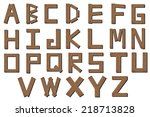 color wooden alphabet isolated ... | Shutterstock . vector #218713828