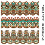 seamless ethnic floral paisley... | Shutterstock .eps vector #218714062