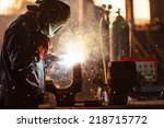 industrial worker at the... | Shutterstock . vector #218715772