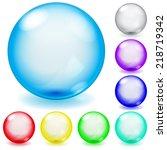 set of transparent glass... | Shutterstock . vector #218719342
