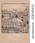 little town hand drawn... | Shutterstock .eps vector #218745622