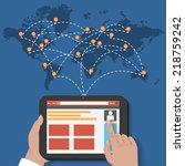 global social network vector... | Shutterstock .eps vector #218759242
