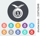 icon medal. single flat icon on ... | Shutterstock .eps vector #218762848