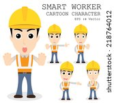 smart worker cartoon character... | Shutterstock .eps vector #218764012