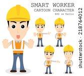 smart worker cartoon character... | Shutterstock .eps vector #218764012