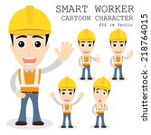 smart worker cartoon character... | Shutterstock .eps vector #218764015