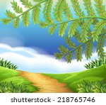 illustration of a view of nature | Shutterstock .eps vector #218765746