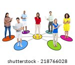 casual diverse people and... | Shutterstock . vector #218766028