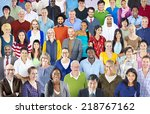 large group of multiethnic... | Shutterstock . vector #218767162