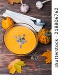 delicious autumn pumpkin soup... | Shutterstock . vector #218806762