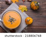 delicious autumn pumpkin soup... | Shutterstock . vector #218806768