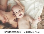 portrait of a mother with her 3 ... | Shutterstock . vector #218823712