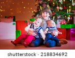 three happy children  brothers... | Shutterstock . vector #218834692