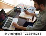 handsome hipster modern man...   Shutterstock . vector #218846266