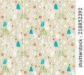 seamless christmas pattern.... | Shutterstock .eps vector #218852392