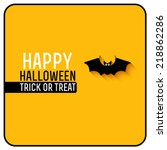 cute bat. happy halloween card. ... | Shutterstock .eps vector #218862286
