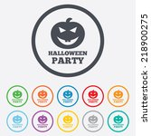 halloween pumpkin sign icon.... | Shutterstock . vector #218900275