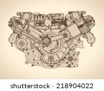 old internal combustion engine  ... | Shutterstock .eps vector #218904022