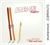 banner ski party with a... | Shutterstock .eps vector #218904172
