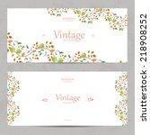vintage floral invitation cards ... | Shutterstock .eps vector #218908252