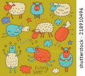 cute cartoon sheep in vector.... | Shutterstock .eps vector #218910496