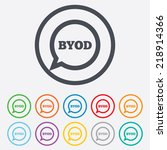 byod sign icon. bring your own... | Shutterstock . vector #218914366
