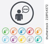 byod sign icon. bring your own... | Shutterstock . vector #218914372