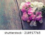 Sweet Peas Flowers On Aged...
