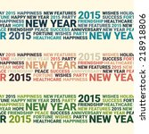 Happy new year seamless ribbon pattern. 3 colors. Word collage - stock vector