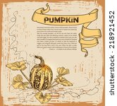 pumpkin.  harvest. hand drawn... | Shutterstock .eps vector #218921452
