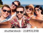 capturing fun. five young happy ... | Shutterstock . vector #218931358