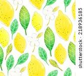 lemon fruit and flowers... | Shutterstock . vector #218936185