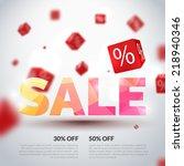 sale poster. vector... | Shutterstock .eps vector #218940346