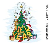 cartoon new year tree with... | Shutterstock .eps vector #218944738