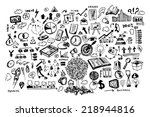 business black and white doodles   Shutterstock .eps vector #218944816