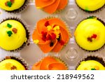 miniature capcakes with yellow... | Shutterstock . vector #218949562