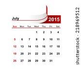 vector simple calendar 2015...   Shutterstock .eps vector #218969512