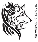 tattoo design of wolf head ... | Shutterstock .eps vector #218972716